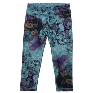 Active Life Capri Leggings Teal Purple Floral SZM